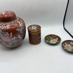 Lot # 99 Lot of Red Asian-esque Pottery with Floral Design