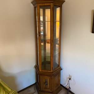 Lot # 3 Tall and Narrow Curio Cabinet - Light Turns On