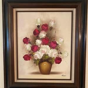 Lot # 11 Framed Print of Flowers In A Vase, Signed