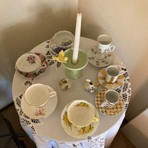 Lot # 30 Lot of Tea Sets and Candlestick Holder