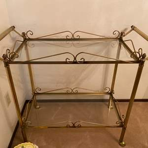Lot # 41 Serving Cart with Glass Shelves