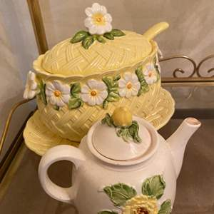 Lot # 42 Cute Floral-Themed Soup Server and Teapot