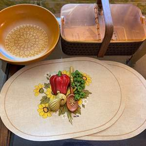 Lot # 43 Lot of Collectables - Salton Hot Basket, Placemats, Dish, Etc.