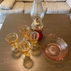 Lot # 72 Lot of Depression Glass Items - Cups, Dish, Oil Lantern