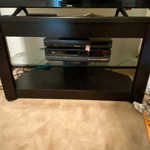 Lot # 76 Stand Console with Glass Shelving **