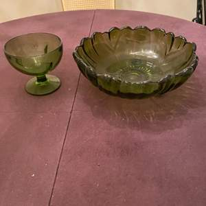 Lot # 100 Depression Glass Cup and Bowl