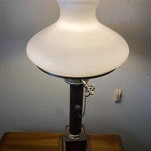 Lot # 101 Milk Glass Table Lamp 1