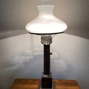 Lot # 102 Milk Glass Table Lamp 2
