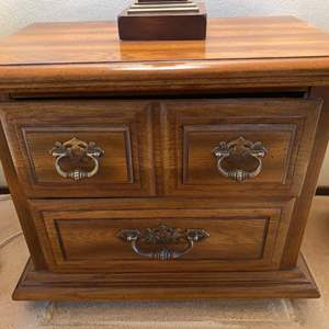 Lot # 107 Wooden End Table with Two Drawers