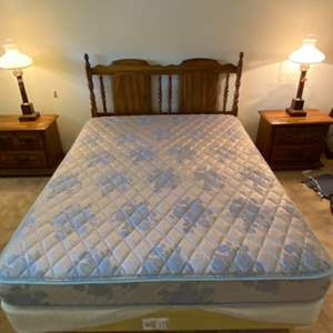 Lot # 110 Queen Sized Mattress, Box Spring, and Frame