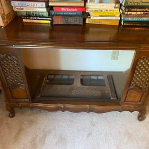 Lot # 128 Wooden Entertainment Stand? With Caned Accents