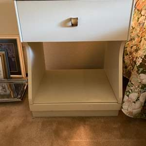 Lot # 130 White End Table with Lower Shelf and Drawer