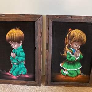 Lot # 137 Two Framed Prints of Children Praying, signed
