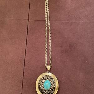 Lot # 144 Gold-Tone Necklace with Turquoise-Colored Stone, Marked Whiting Davis