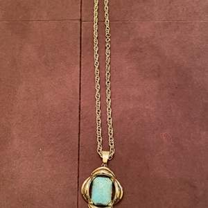 Lot # 145 Gold-tone Necklace with Turquoise-Colored Stone