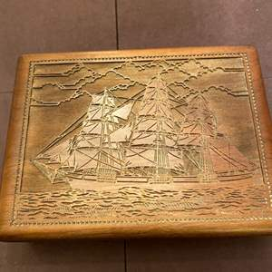 Lot # 147 Wooden Jewelry Box with Sailboat Design, Jewelry Inside Included