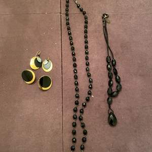 Lot # 160 Lot of Black Jewelry, Two Necklaces and a Pair of Earrings