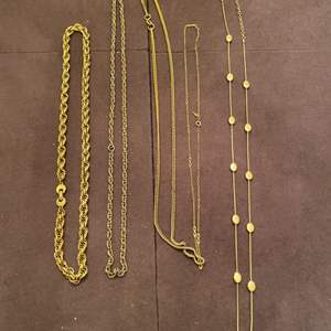 Lot # 165 Lot of Gold-Tone Chain Necklaces, Some Marked