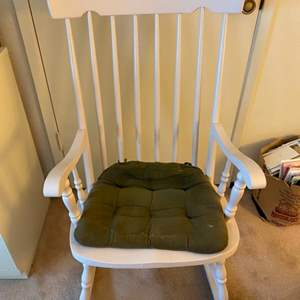 Lot # 178 White Rocking Chair with Seat Cushion