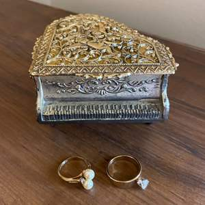 Lot # 179 Intricate Piano-Shaped Music Box plus Two Rings