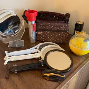 Lot # 181 Lot of Collectables - Multiple Hand Mirrors, Flashlight, Makeup Bag?, Etc.