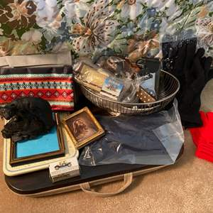 Lot # 195 Lot of Collectables - Bear Statue, Picture Frames, Gloves, etc.