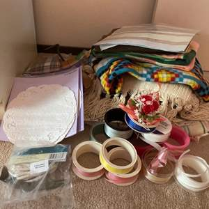 Lot # 197 Lot of Art Supplies - Ribbon, Linens, Etc.