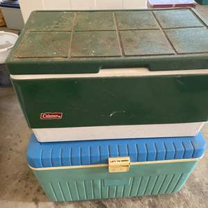 Lot # 209 Lot of Two Coolers Filled With Tupperware?