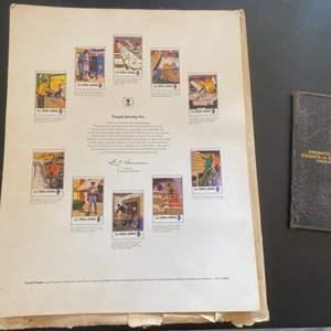 Lot # 217 Old Wallet? plus Framed Print of Postal Service Stamps