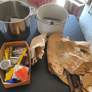 Lot # 221 Lot of Kitchen Items - Two Large Pots, Utensils/Cutlery, Etc.