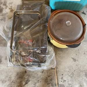 Lot # 226 Lot of Old Kitchen Items - Crockpot, Griddle, Glass Tray Holder?
