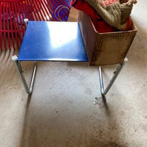 Lot # 228 Tiny Metal Table plus Dog Items (Vests, Leashes, Collars?)