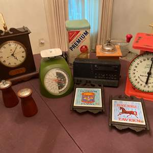 Lot # 233 Lot of Collectables - Food Scales, Radio, Salt and Pepper Shakers?, Etc.