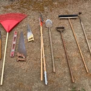 Lot # 238 Lot of Large Tools - Rake, Shovel, Shears, Saws, Etc.
