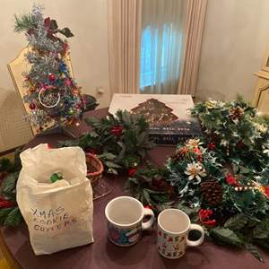 Lot # 245 Lot of Christmas Items - Wreathes, Mugs, Cookie Cutters, Etc.