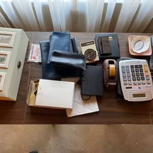 Lot # 254 Mixed Lot: Small Plates, Calculator, Sports Radio?, Etc.