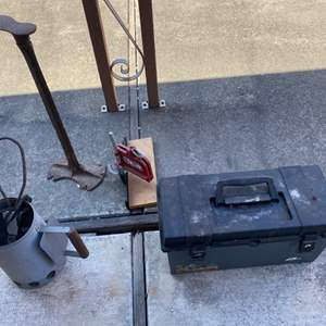Lot # 264 Cobblers Stand, Metal Miter Box, and Tool Box