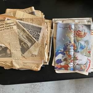 Lot # 304 Lot of Old Newspapers & Local (Petaluma) Sports Memorabilia