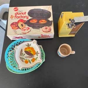 Lot # 305 Lot of Kitchen Items - Donut Maker, Can Opener, Mug, Etc.