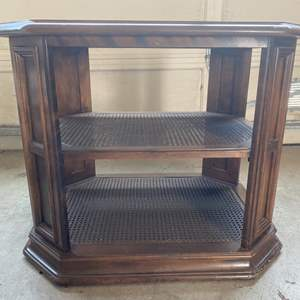 Lot # 306 Wooden End Table with Unique Caned Shelf Feature