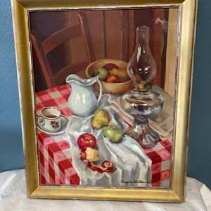 Lot # 70 Framed Painting of Fruit and Tea, Signed Virginia Sheldon Wilhelm (1952)