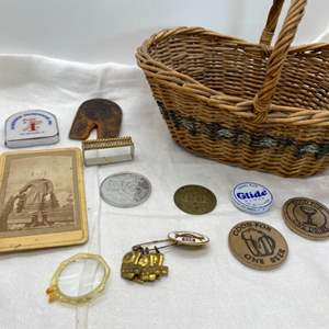 Lot # 34 Lot of Collectables in Basket - Beer Collecting Coins, Various Pins, Etc.