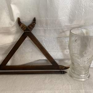 Lot # 82 Wood Design Wall Hanger and French Floral Glass Vase