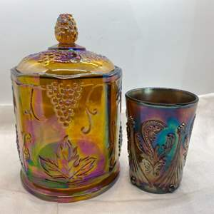 Lot # 112 Purple Grape Embossed Carnival Glass Jar with Lid, and Cup (Different Style of Embossing)