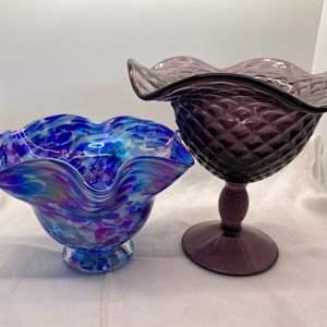 Lot # 10 Ed Broadfield Handblown Dish, and Purple Dish