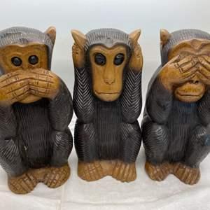 Auction Thumbnail for: Lot # 19 Set of 3 Wood Monkey (Hear No Evil, See No Evil, Speak No Evil)