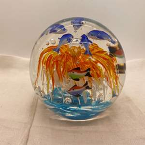 Lot # 3 Art Glass Sphere - Anemone, Fish, Dolphins