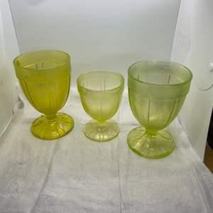 Lot # 143 Three Depression Yellow Glass Soda Cups