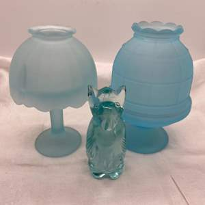 Auction Thumbnail for: Lot # 89 Three Teal-tone Glass Items