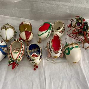 Auction Thumbnail for: Lot # 95 Lot of Decorative Christmas Eggs